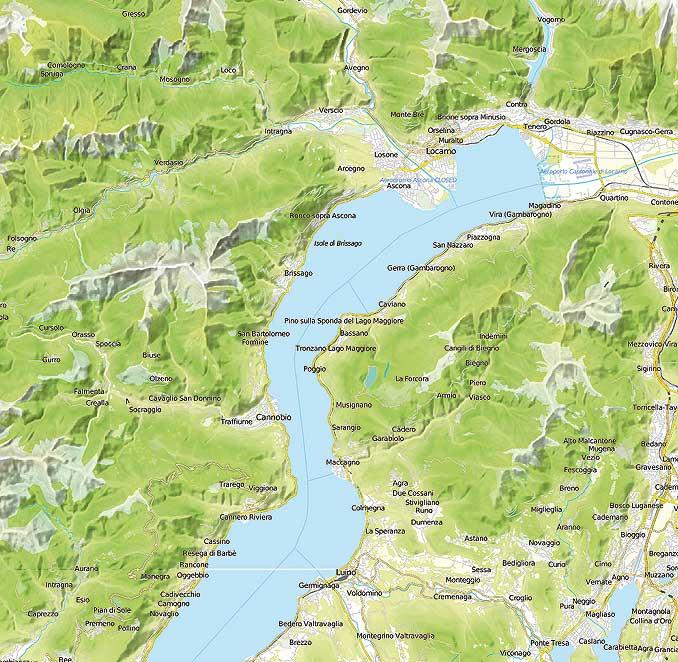 Bild zeigt den Schweizer Seeteil des Lago Maggiore